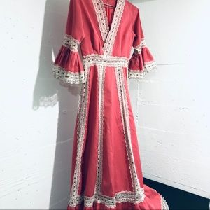 Vintage Prairie Style Boho Floor Length Dress
